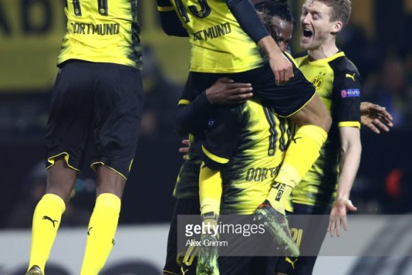 during UEFA Europa League Round of 32 match between Borussia Dortmund and Atalanta Bergamo at the Signal Iduna Park on February 15, 2018 in Dortmund, Germany.